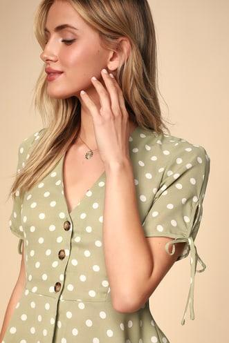 e982b0661f Always Lovely Sage Green Polka Dot Button-Up Peplum Top
