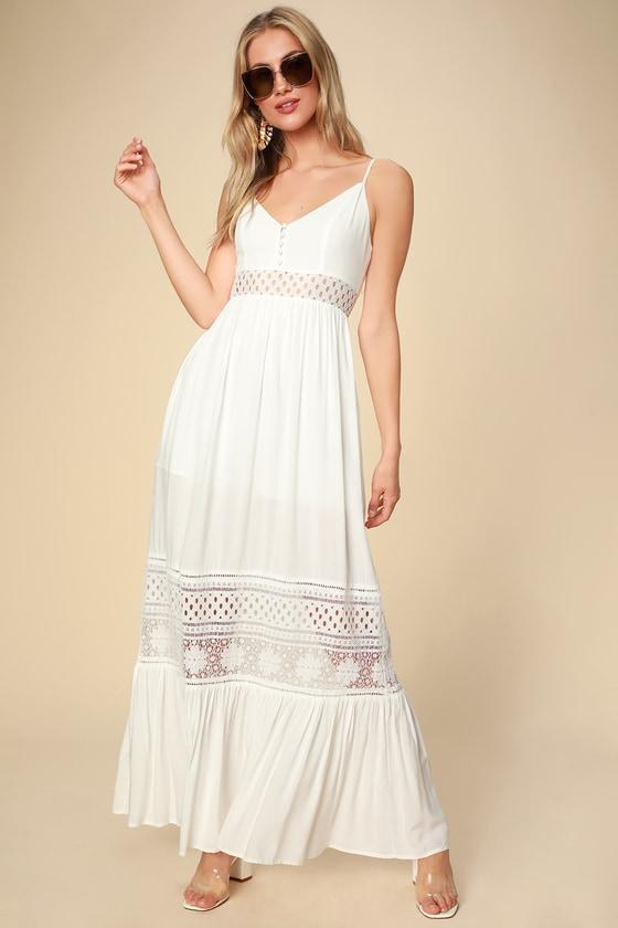 Kaia White Lace Sleeveless Maxi Dress