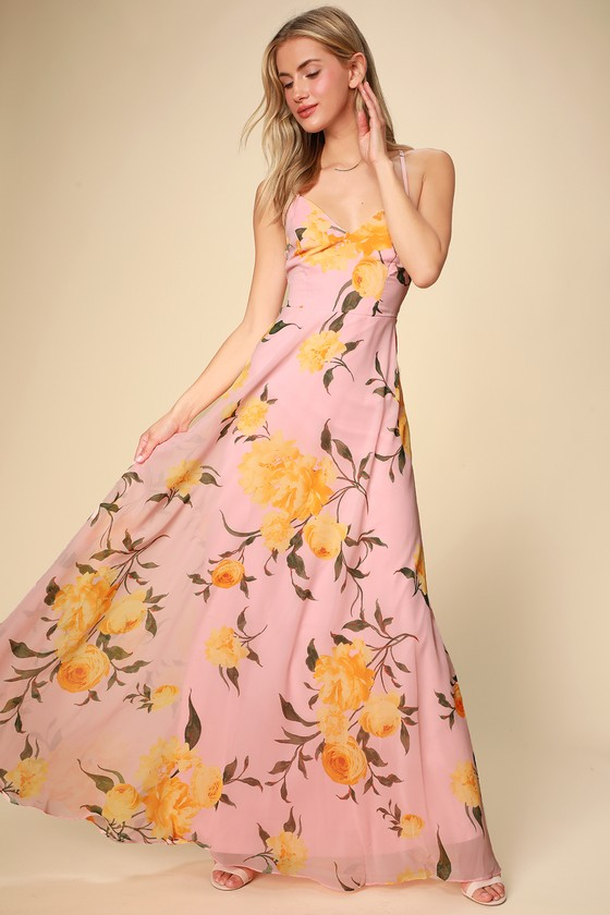 c42032803e Glam Blush Maxi Dress - Floral Maxi Dress - Blush Floral Dress