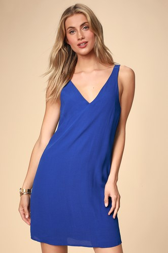 39ad4d412cb Height of Style Cobalt Blue Sleeveless Shift Dress
