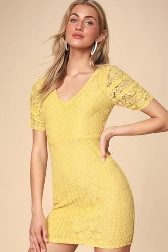 ca2d017f93d Tatianna Yellow Lace Short Sleeve Mini Dress
