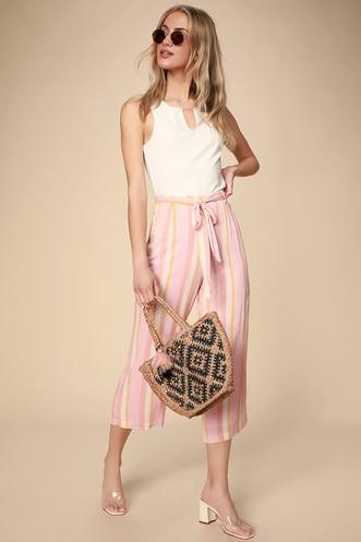 f1d3589e46cb36 Orange Creamsicle Pink Multi Striped Culotte Pants