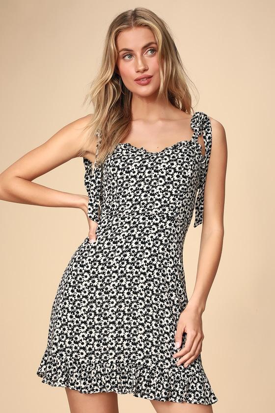 34efdbf66513 Ditsy Floral Print Dress - Tie-Strap Dress - Ruffled Dress
