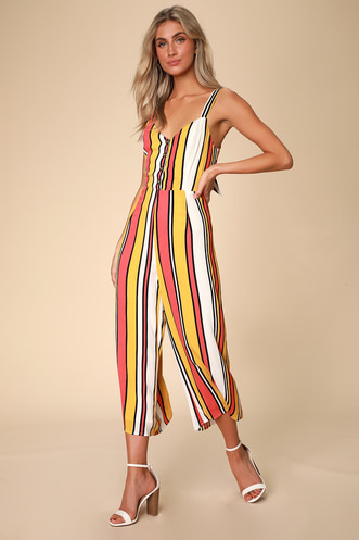 82bb7b2d841 Jessica Mustard Yellow and Coral Pink Striped Tie-Back Jumpsuit