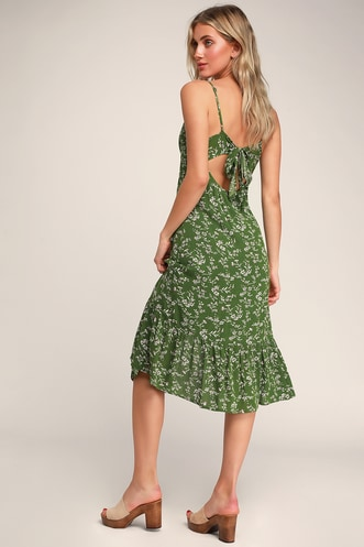 73f23ebb4c Missie Olive Green Floral Print Ruffled Tie-Back Midi Dress