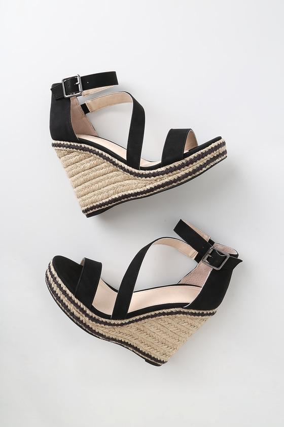194eef8f2 Cute Black Wedges - Espadrille Wedges - Vegan Wedge Sandals