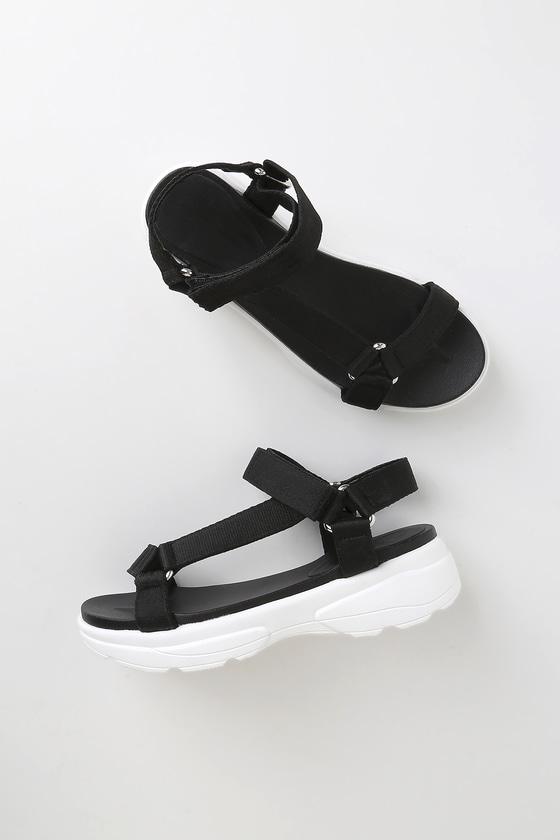 Cute Black Sandals - Platform Sandals