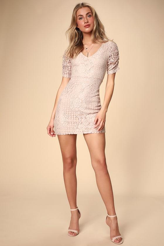 07a32811378 Lovely Blush Pink Dress - Lace Mini Dress - Lace Dress
