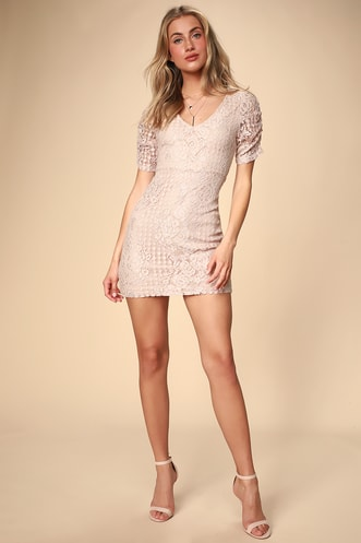 3e7fb2d942 Tatianna Blush Pink Lace Short Sleeve Mini Dress