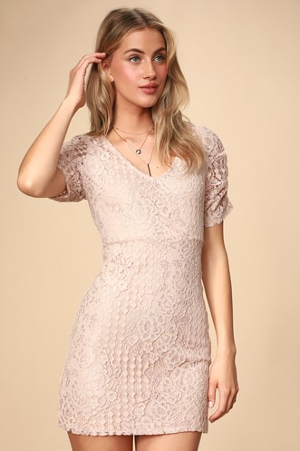 c972a9b7492 Tatianna Blush Pink Lace Short Sleeve Mini Dress