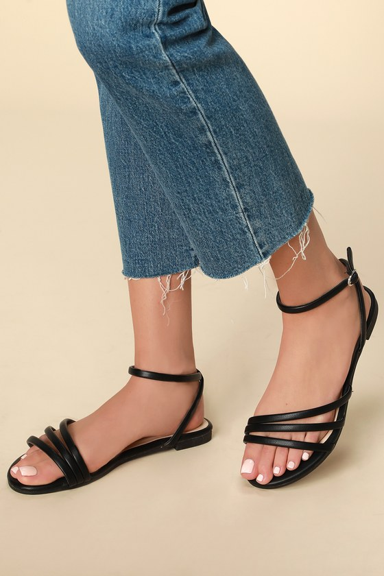 Cute Black Sandals - Strappy Sandals