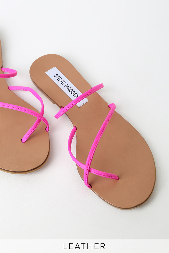 fashion sneakers official images Steve Madden Wise - Neon Pink Strappy Sandals - Leather Sandals