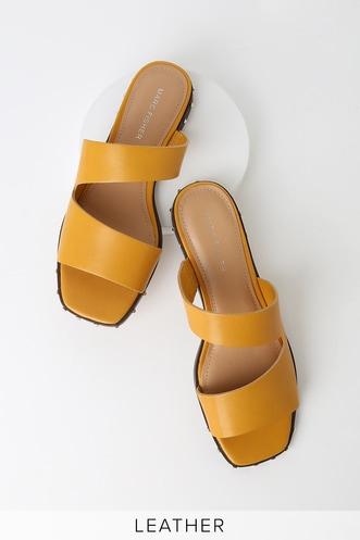 126c9fb53aa Jaylin Yellow Leather Studded Slide Sandals