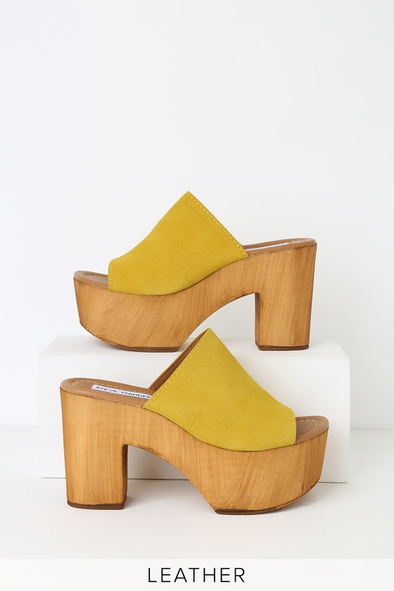 208943d0d47 Playdate Yellow Suede Leather Wooden Platform Mules
