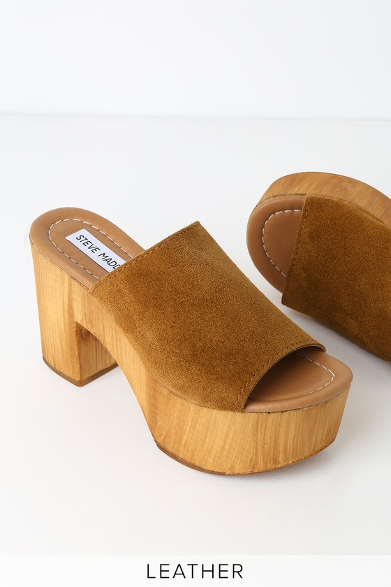4f96afccb13 Playdate Chestnut Suede Leather Wooden Platform Mules