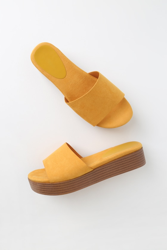 Suede Yellow Slides Bryleigh Mustard Flatform CBoedx