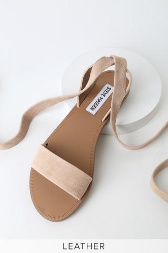 c06c4fa3e33 Reputation Taupe Suede Leather Lace-Up Flat Sandals
