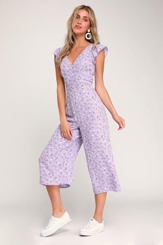 8711fd16c4 Floreal Love Lavender Floral Print Ruffled Culotte Jumpsuit