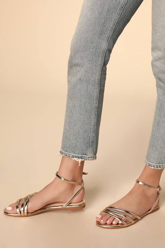 Vintage Sandal History: Retro 1920s to 1970s Sandals Delia Gold Flat Sandal Heels - Lulus $21.00 AT vintagedancer.com