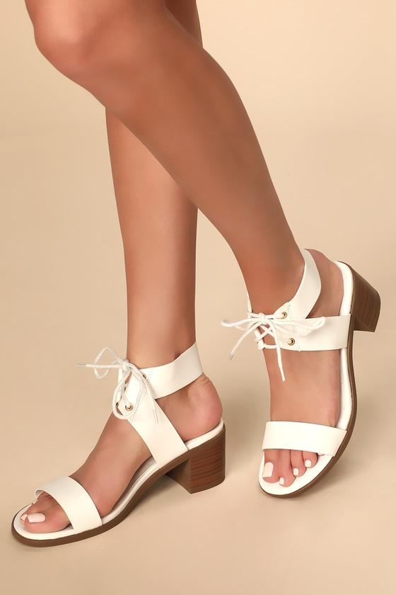 080d49be5c Cute White Lace-Up Heels - High Heel Sandals - Vegan High Heels