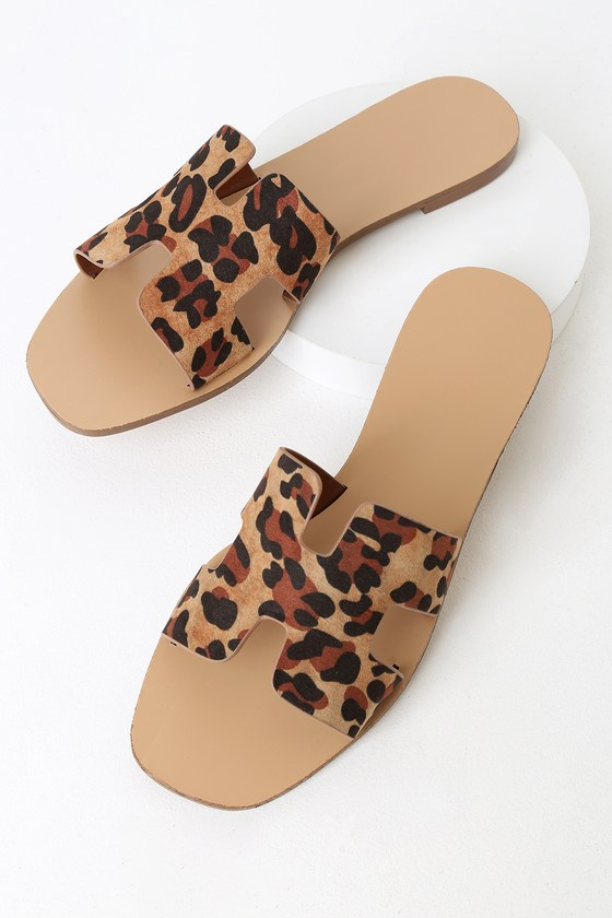 dbb868fa939 Cute Leopard Sandals - Slide Sandals - Leopard Slide Sandals