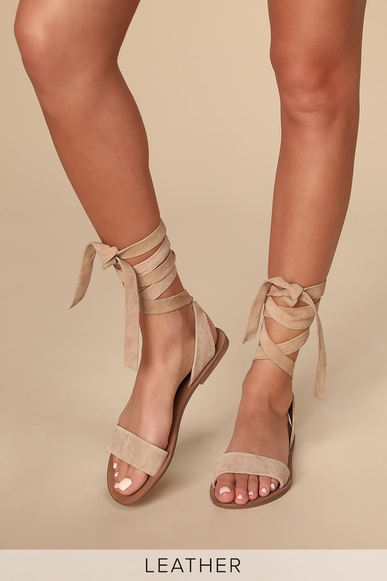 Vintage Sandal History: Retro 1920s to 1970s Sandals Reputation Taupe Suede Leather Lace-Up Flat Sandal Heels - Lulus $69.00 AT vintagedancer.com