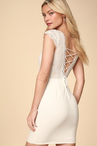 724a29b18bd Give a Glam White Lace Lace-Up Bodycon Dress