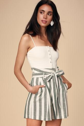 33983d5c0c0 Lagos White and Sage Green Striped Paperbag Waist Shorts