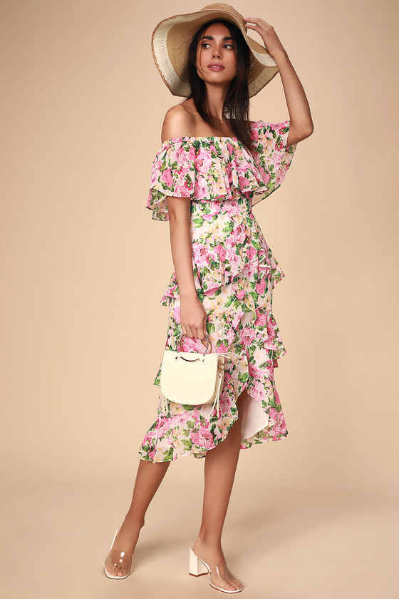 Lira White Floral Print Ruffled Off-the-Shoulder Midi Dress