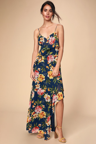 be72c4b814e Jubilee Navy Blue Floral Print Ruffled Lace-Up Maxi Dress
