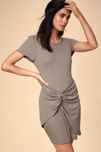 6bb70aabc0d Lacan Taupe Ribbed Twist-Front T-Shirt Dress