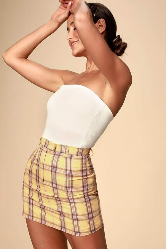 17f2e0f228 BB Dakota Best I Ever - Plaid Skirt - Yellow Plaid Mini Skirt
