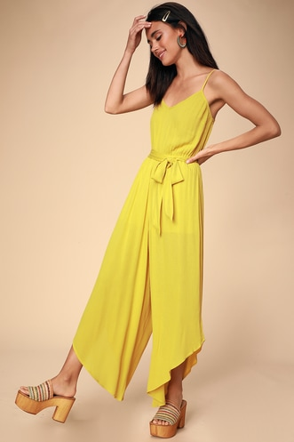 ba042d764e0 She s on Vacation Mustard Yellow Wide-Leg Jumpsuit