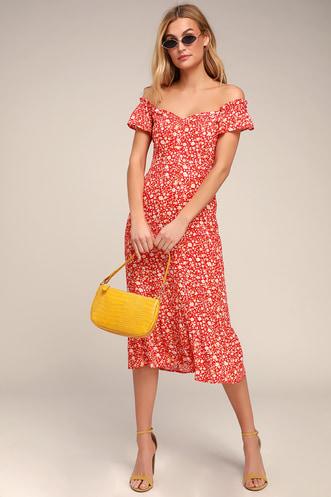 a714efa46 Mariana Red Floral Print Midi Dress