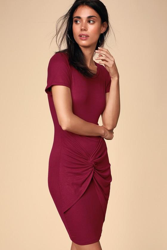 6eb8d560318 Cute Wine Dress - Tie-Front Dress - T-Shirt Dress - Red Dress