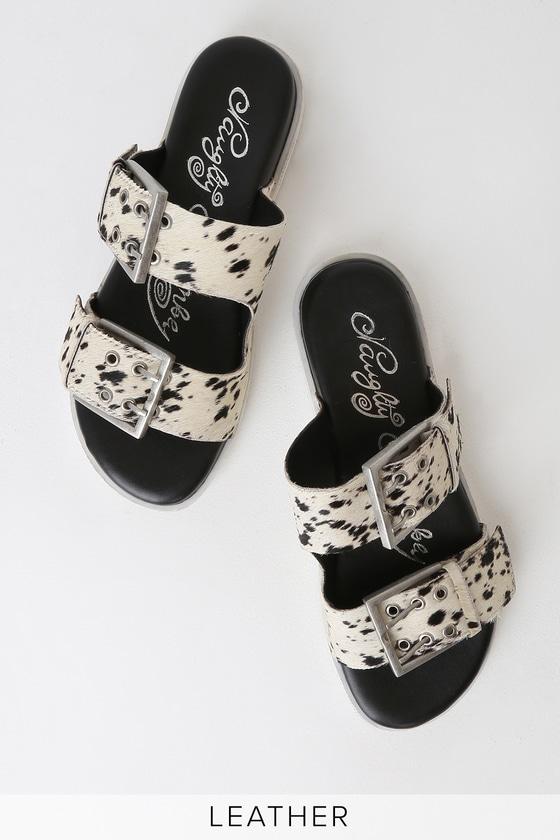 2b8467eac390 Naughty Monkey Hey Pony - Pony Fur Sandals - Slide Sandals