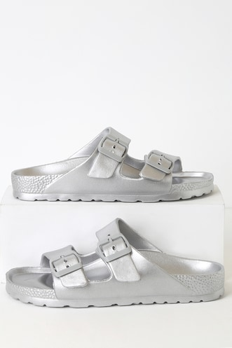 9ab66eeed Caiden Silver Buckled Slide Sandals