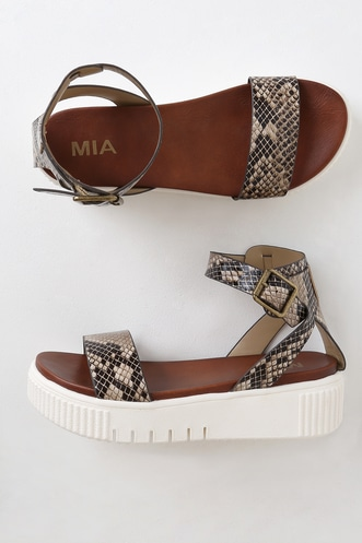 dd866bdca1aa Lunna Multi Beige Snake Embossed Flatform Sandals