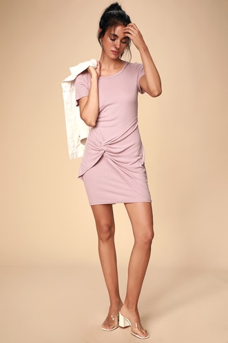 7f6ff47d996 Lacan Mauve Ribbed T-Shirt Dress