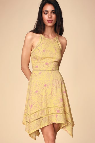 d8c4c55a445 Bahama Mama Yellow Floral Print Sleeveless Handkerchief Dress
