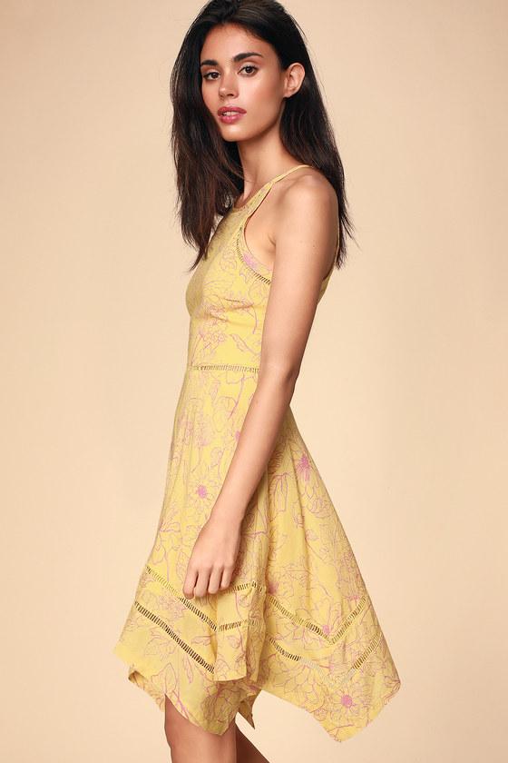 5640187a48 Cute Yellow Dress - Floral Print Dress - Handkerchief Dress