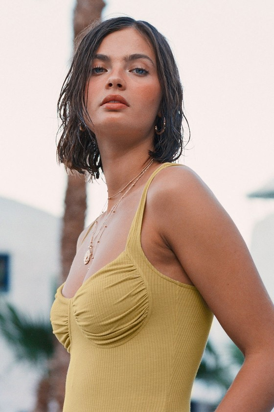 c1fe55d45 Sexy Yellow Bodysuit - Bustier Bodysuit - Ribbed Knit Bodysuit