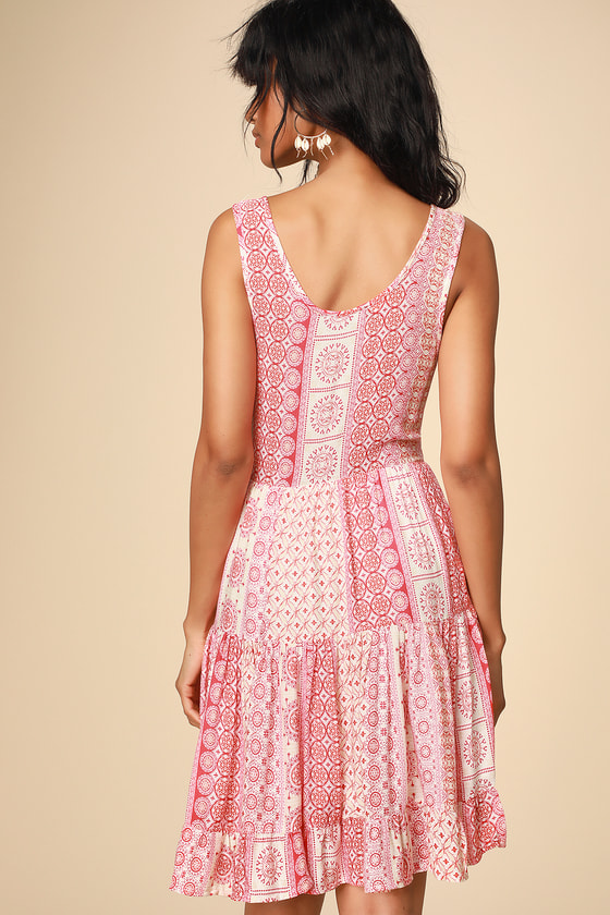 ec357491e12b Boho Red Print Dress - Swing Dress - Lace-Up Dress