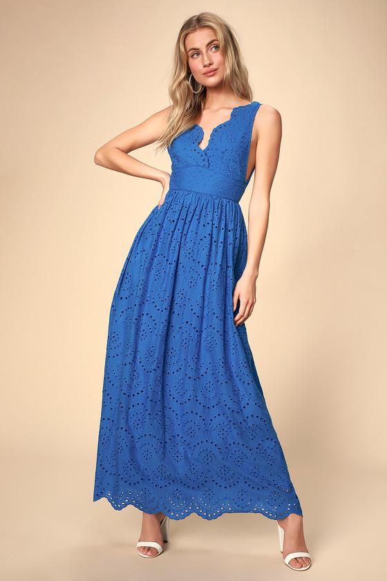 Splendid Cobalt Blue Eyelet Lace Maxi Dress - Lulus