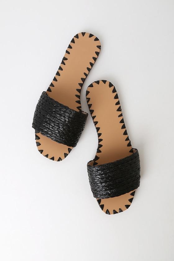 b9f970f0e90 Nickols Black Woven Slide Sandals