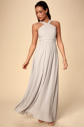 f892ba6974e Air of Romance Grey Maxi Dress