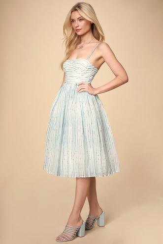 af53b0e9a Summer in Santorini White and Blue Striped Midi Dress