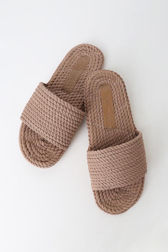 Vintage Sandal History: Retro 1920s to 1970s Sandals Sunny Natural Rope Slide Sandal Heels - Lulus $47.00 AT vintagedancer.com