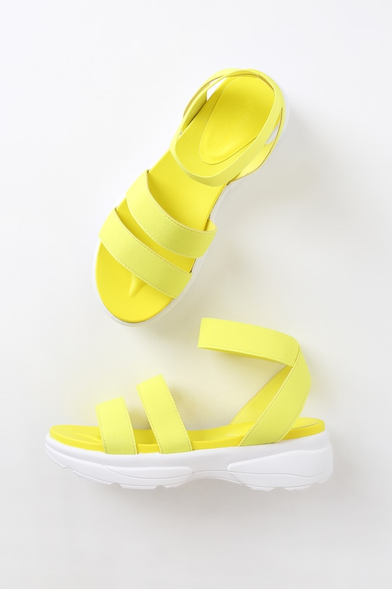 a655a57e3 Cute Neon Yellow Sandals - Platform Sandals - Yellow Shoes