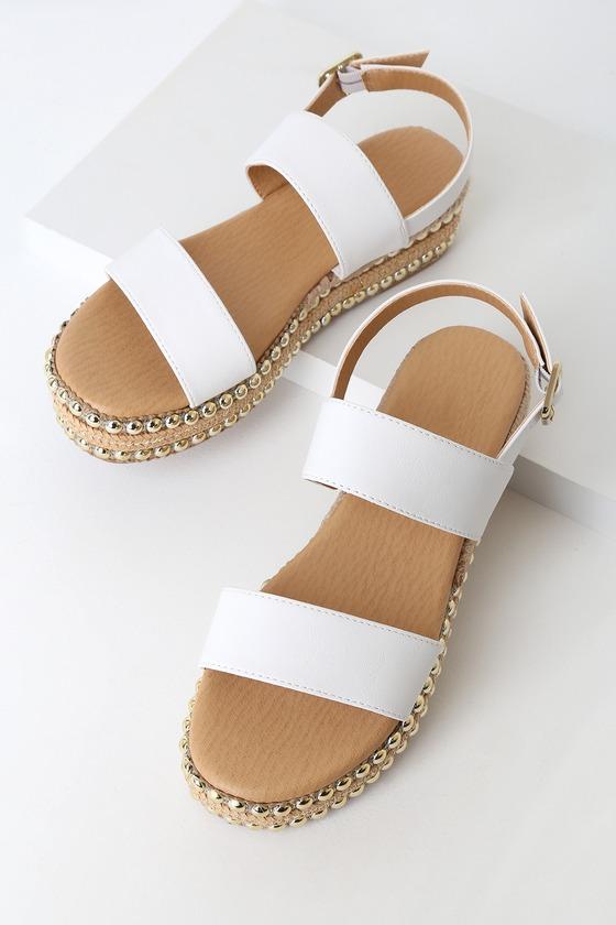Cute White Sandals - Platform Sandals